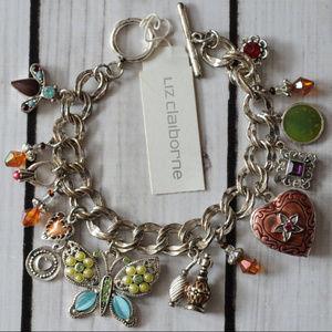 enamel rhinestone butterfly charm bracelet